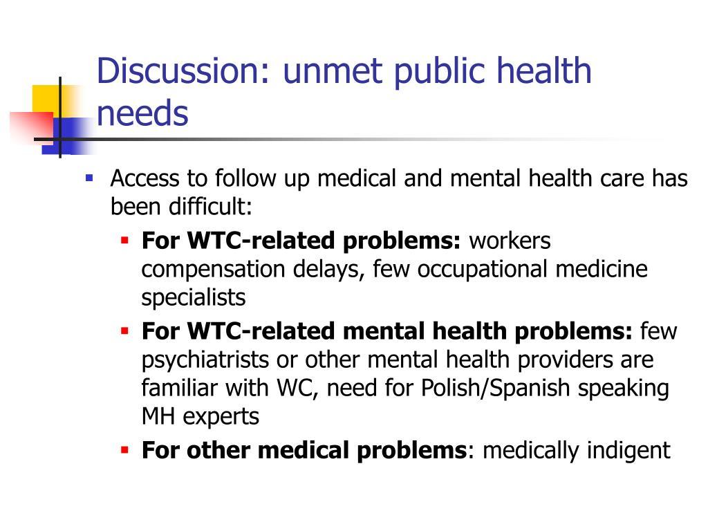 Discussion: unmet public health needs