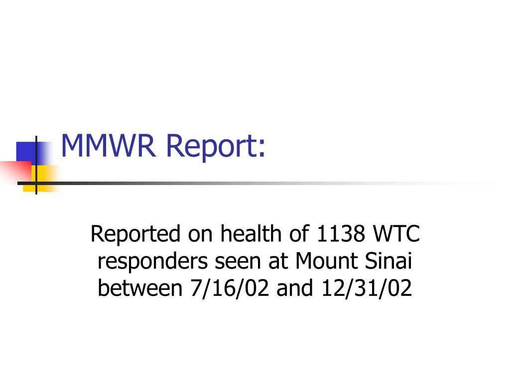 MMWR Report: