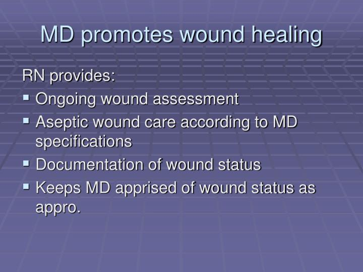 MD promotes wound healing