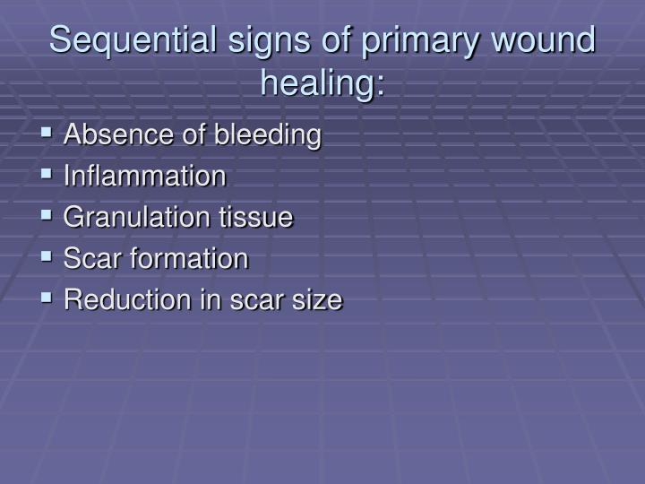 Sequential signs of primary wound healing: