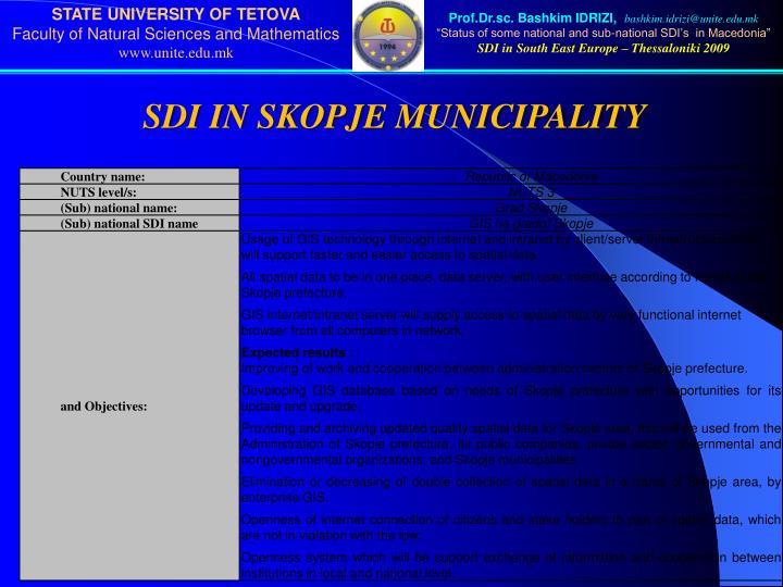 SDI IN SKOPJE MUNICIPALITY