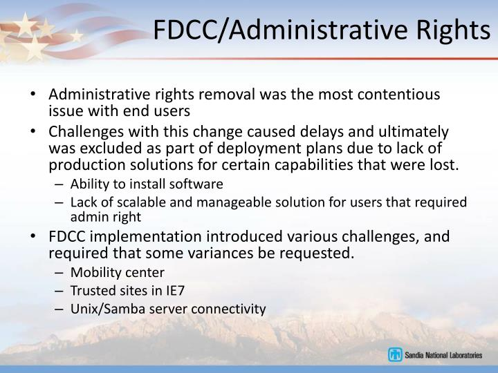 FDCC/Administrative Rights