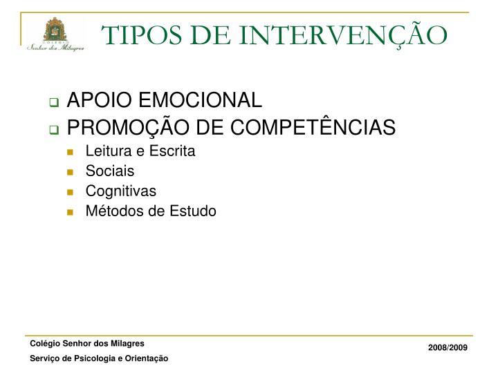 TIPOS DE INTERVENÇÃO