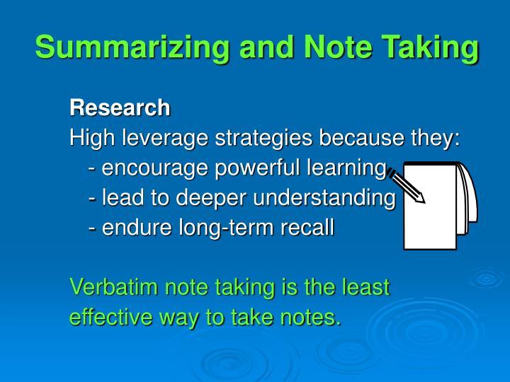 Summarizing and Note Taking