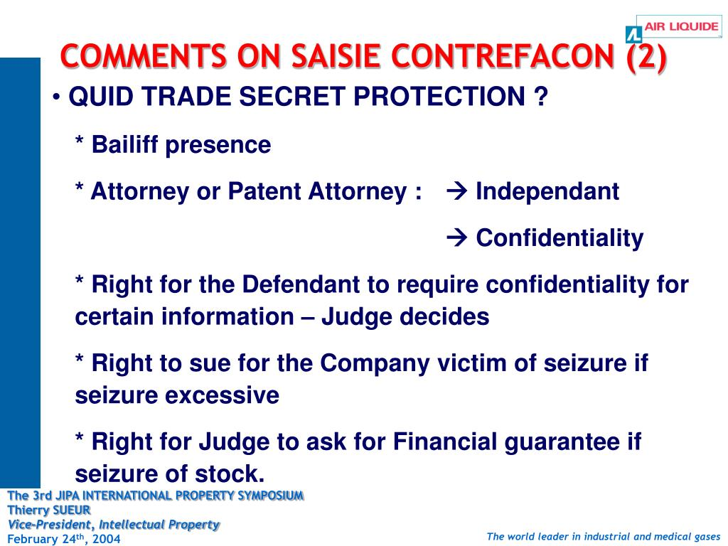 COMMENTS ON SAISIE CONTREFACON (2)