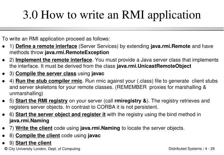 3.0 How to write an RMI application