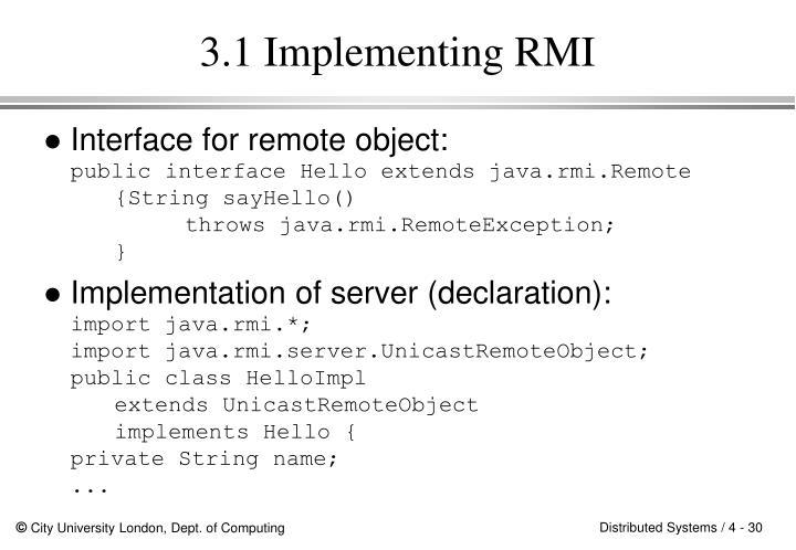 3.1 Implementing RMI