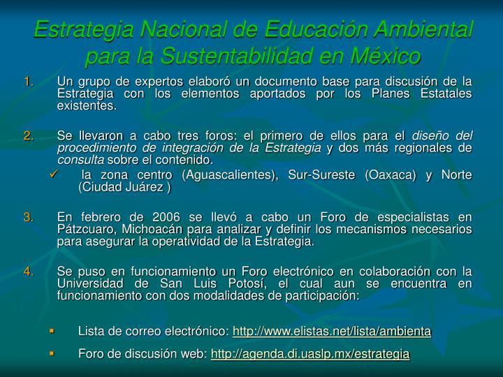 Estrategia Nacional de Educacin Ambiental para la Sustentabilidad en Mxico