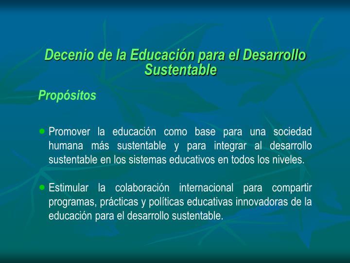 Decenio de la Educacin para el Desarrollo Sustentable