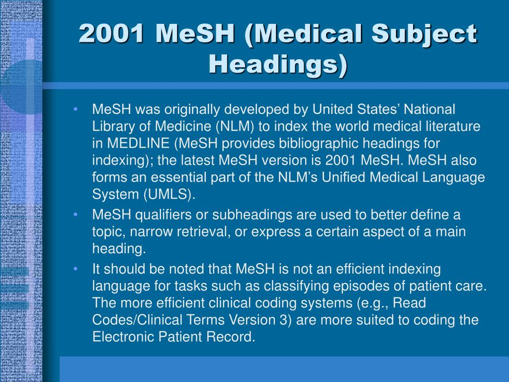 2001 MeSH (Medical Subject Headings)
