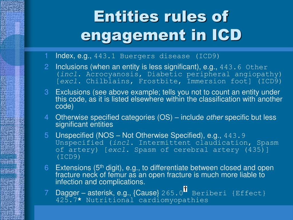 Entities rules of engagement in ICD
