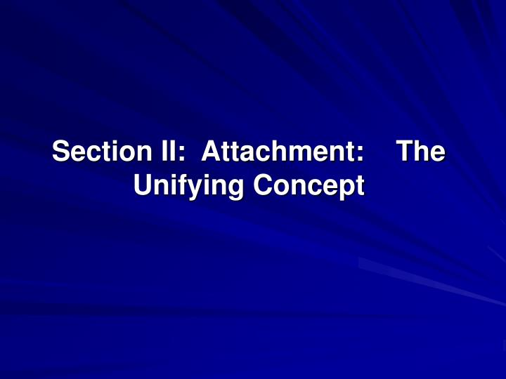Section II:  Attachment:    The Unifying Concept