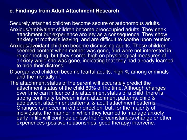 e. Findings from Adult Attachment Research