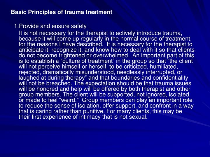 Basic Principles of trauma treatment