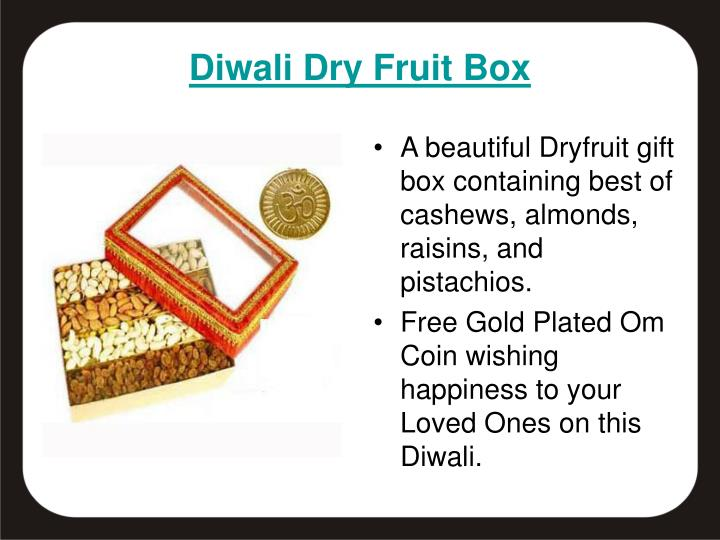 A beautiful Dryfruit gift box containing best of cashews, almonds, raisins, and pistachios.