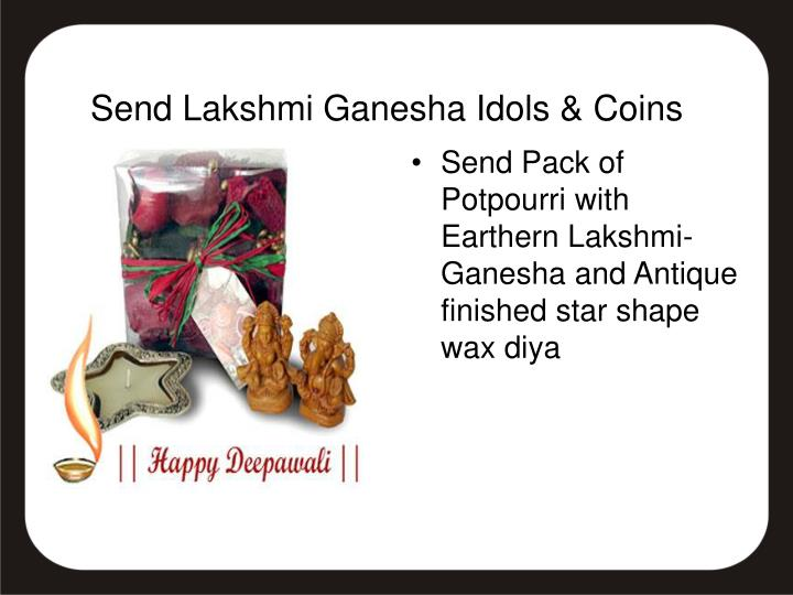 Send Pack of Potpourri with Earthern Lakshmi-Ganesha and Antique finished star shape wax diya
