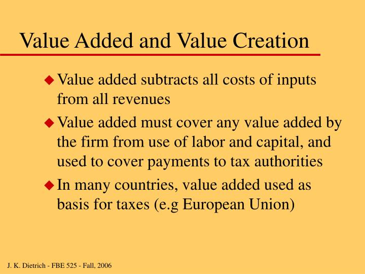 Value Added and Value Creation