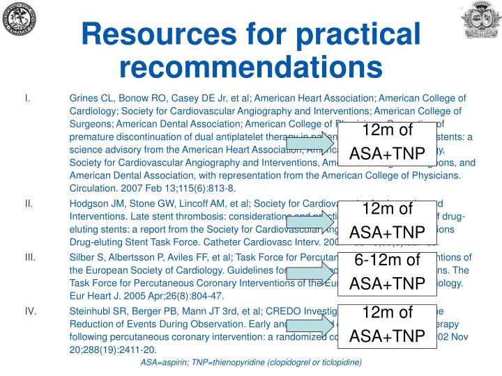 Resources for practical recommendations