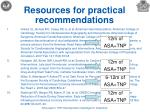 resources for practical recommendations1