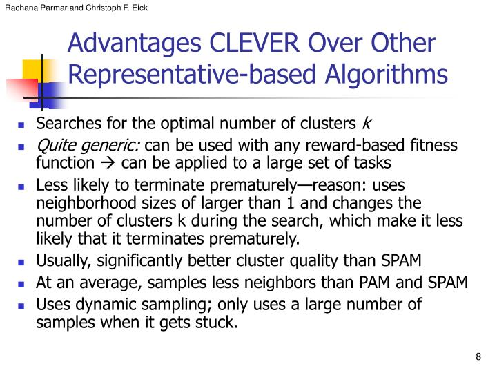 Advantages CLEVER Over Other Representative-based Algorithms