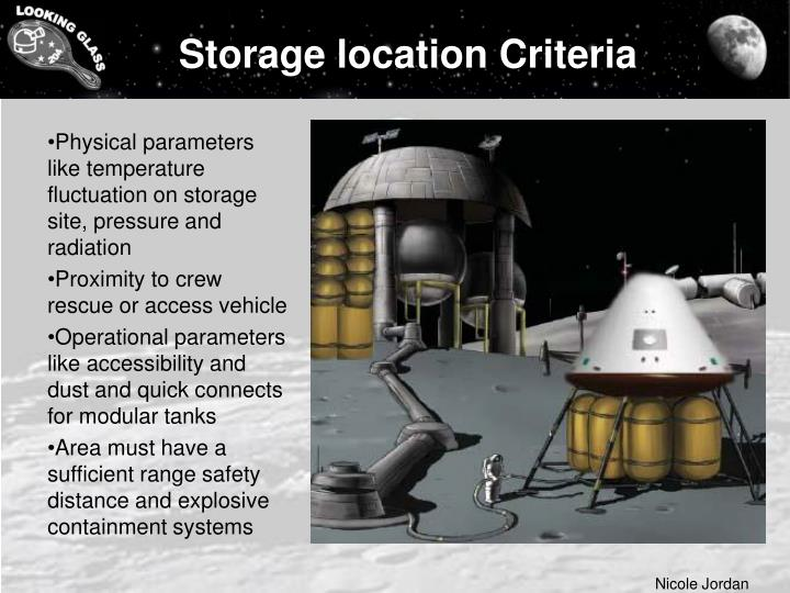 Storage location Criteria
