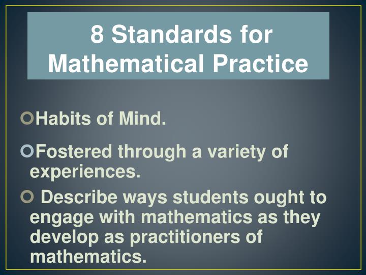 8 Standards for Mathematical Practice