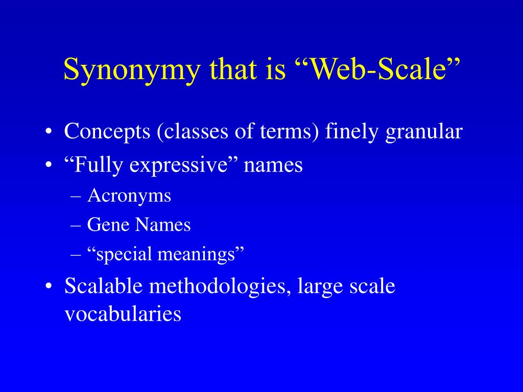 "Synonymy that is ""Web-Scale"""
