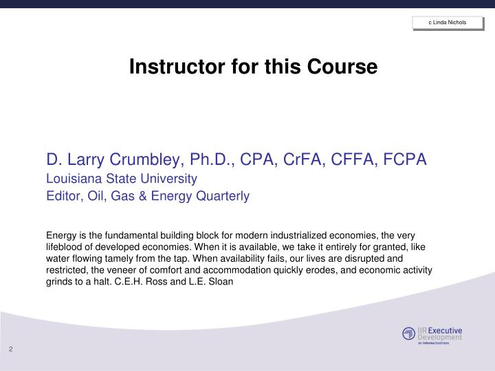 Instructor for this course