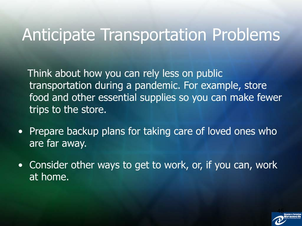 Anticipate Transportation Problems