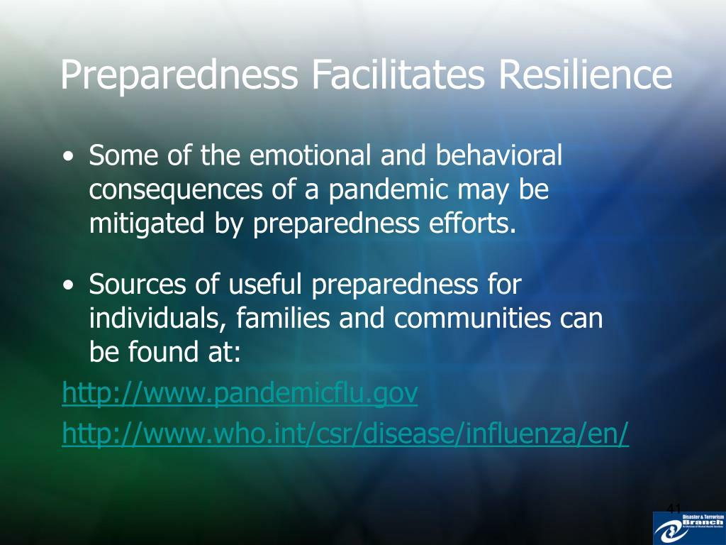 Preparedness Facilitates Resilience