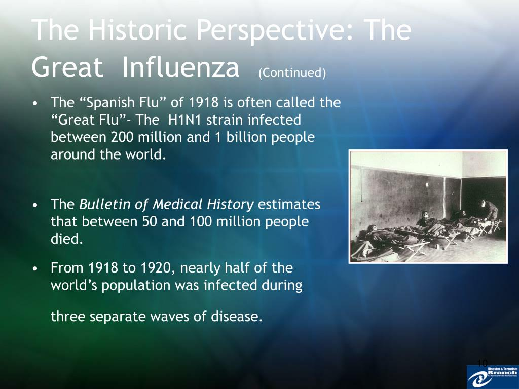 The Historic Perspective: The Great  Influenza