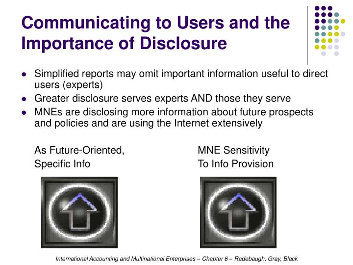 Communicating to Users and the  Importance of Disclosure