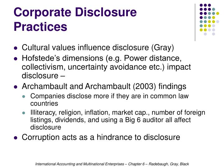 Corporate Disclosure Practices