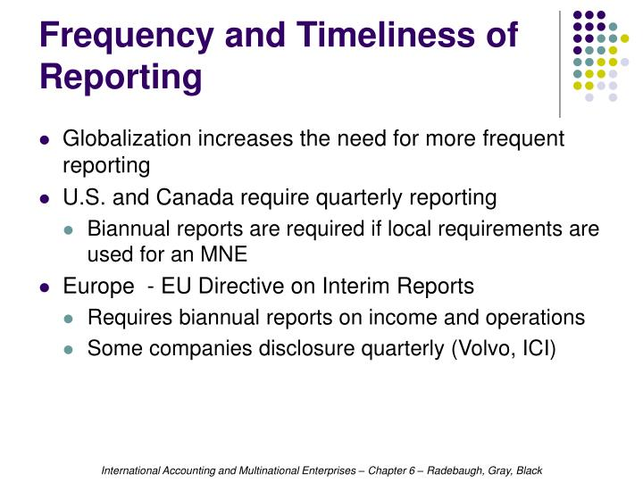 Frequency and Timeliness of Reporting