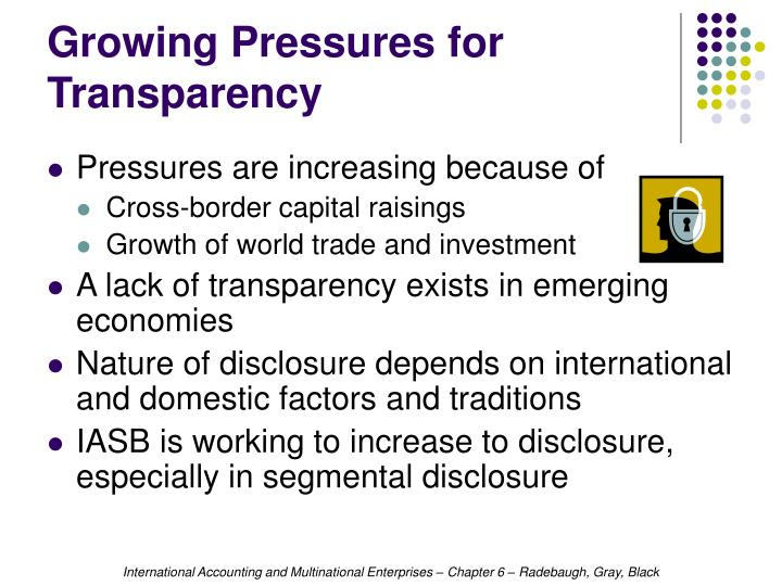 Growing Pressures for Transparency