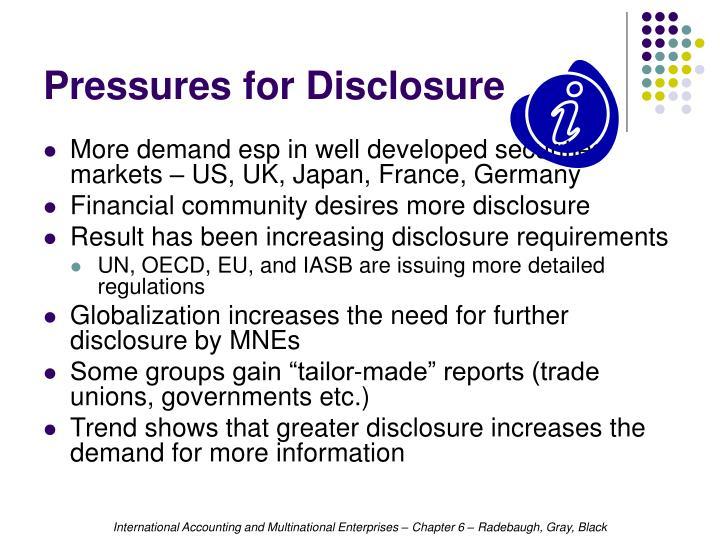 Pressures for Disclosure