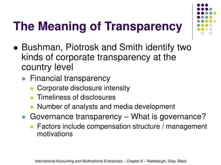The Meaning of Transparency