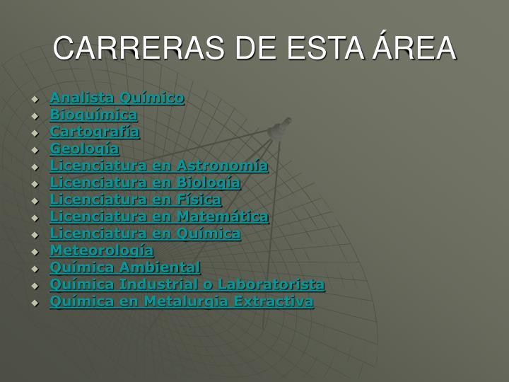 CARRERAS DE ESTA ÁREA