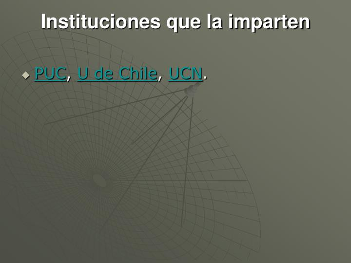 Instituciones que la imparten