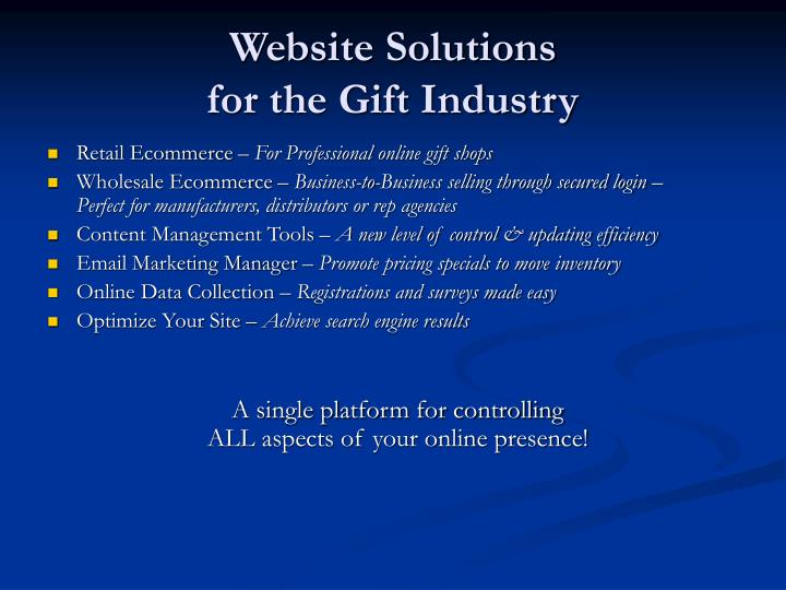 Website solutions for the gift industry