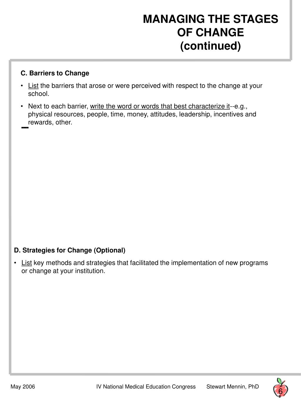 MANAGING THE STAGES OF CHANGE