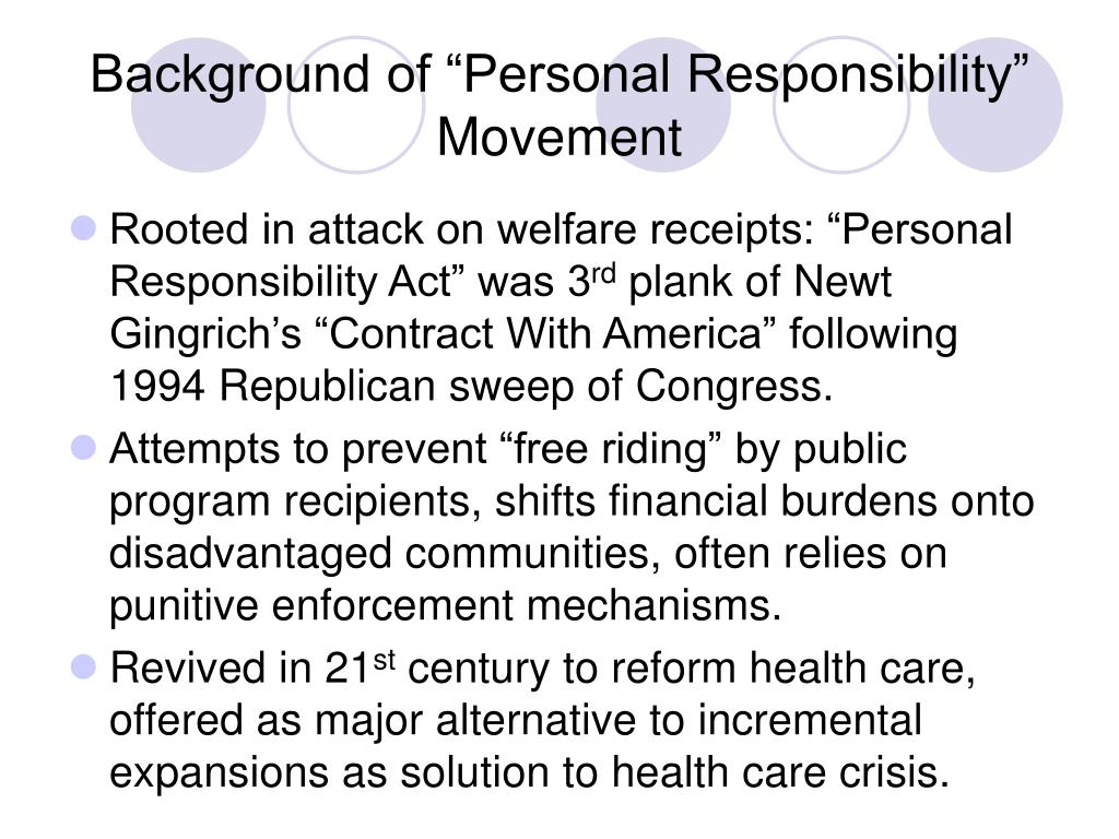 """Background of """"Personal Responsibility"""" Movement"""