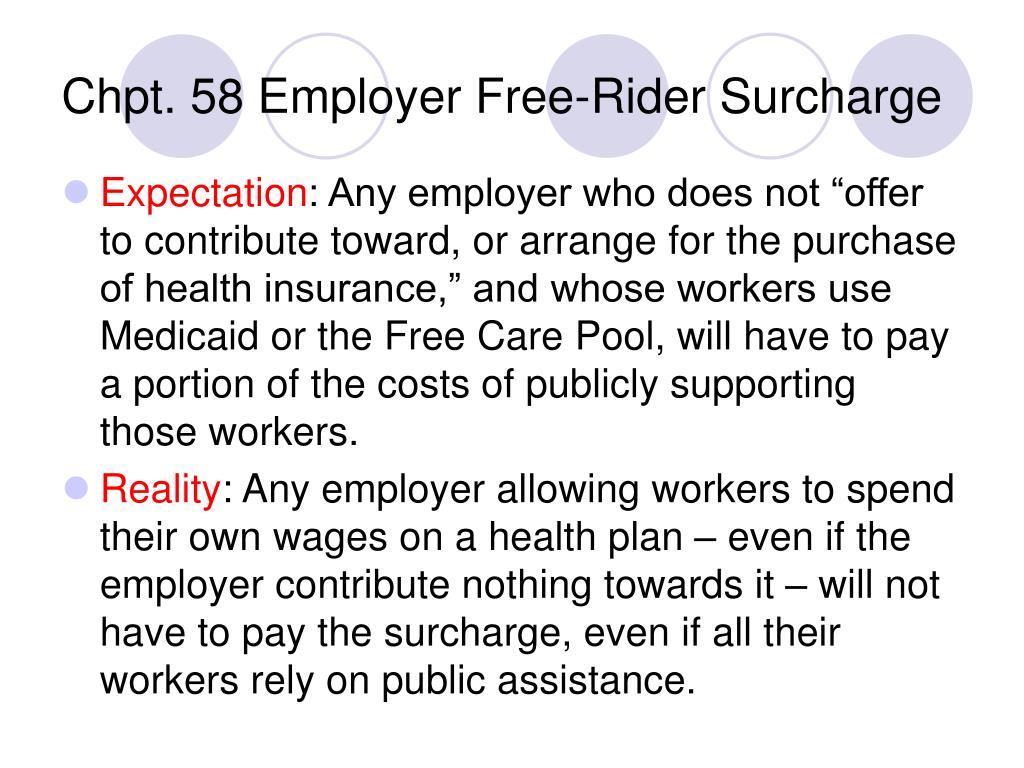 Chpt. 58 Employer Free-Rider Surcharge