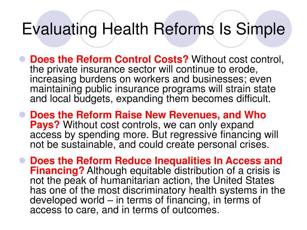Evaluating Health Reforms Is Simple
