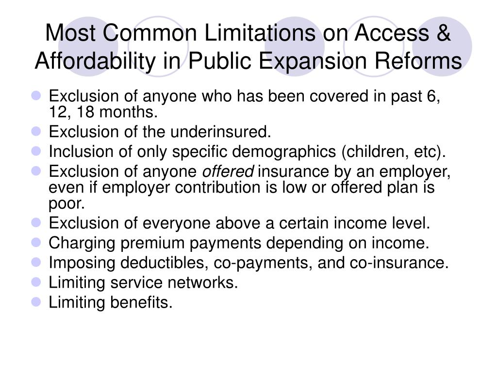 Most Common Limitations on Access & Affordability in Public Expansion Reforms
