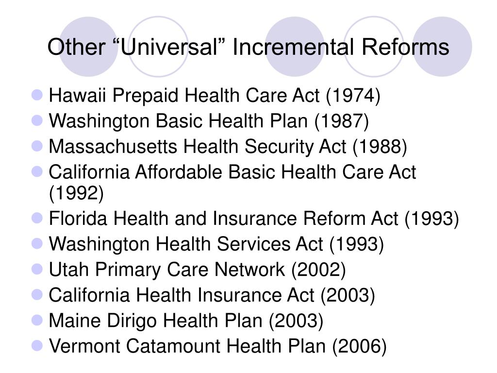 """Other """"Universal"""" Incremental Reforms"""
