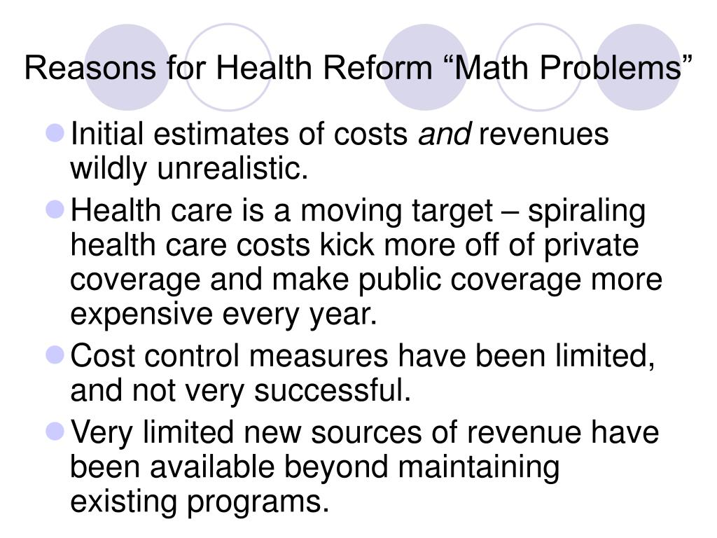 """Reasons for Health Reform """"Math Problems"""""""