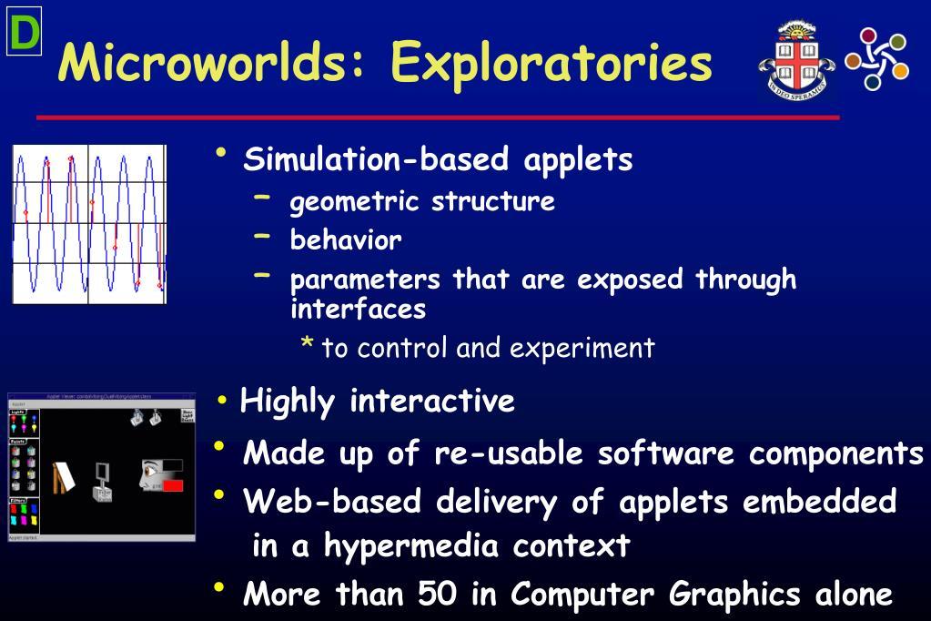 Microworlds: Exploratories