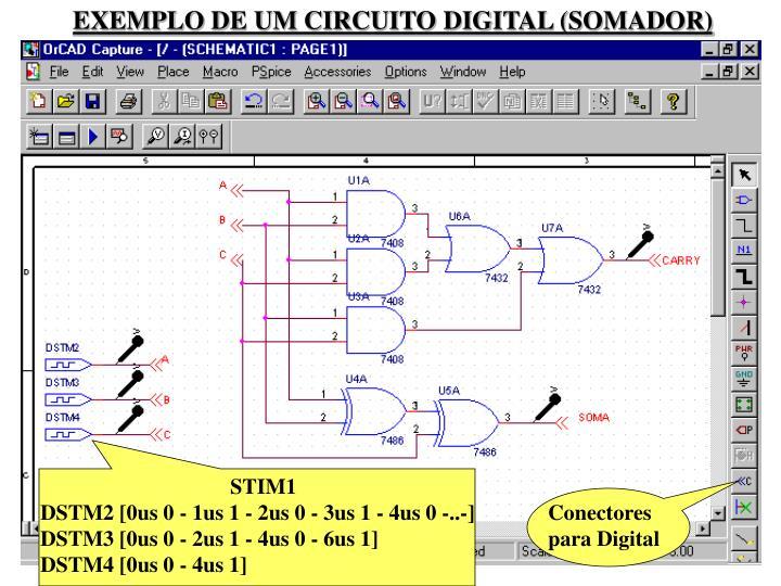 EXEMPLO DE UM CIRCUITO DIGITAL (SOMADOR)