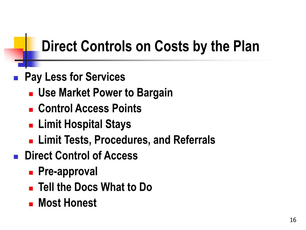 Direct Controls on Costs by the Plan